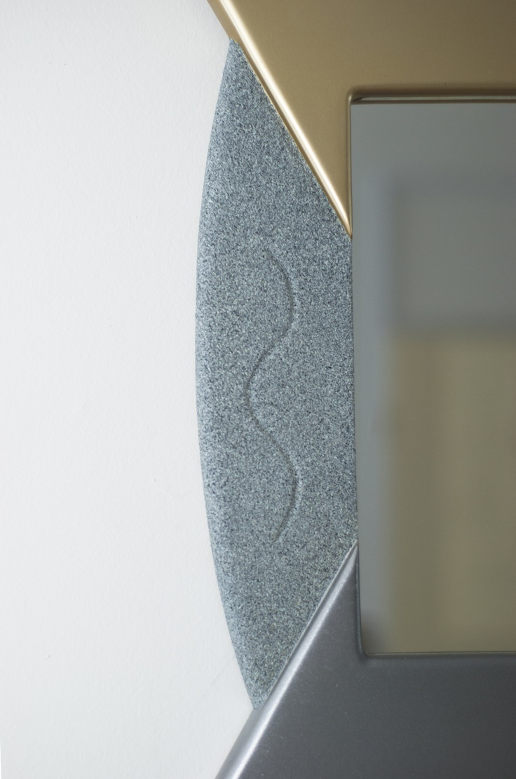 "Close up of detailing on Modern Mirror the ""Pie"". Gold, Silver & Granite..."