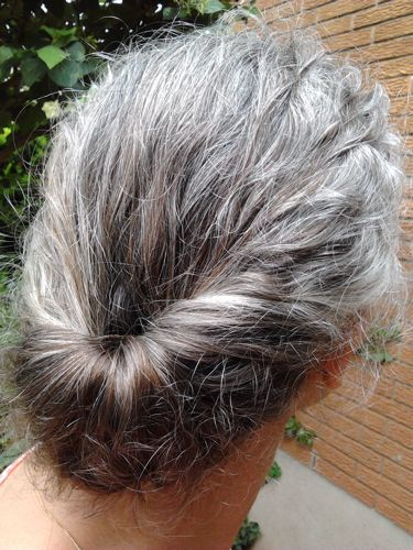 Gibson Tuck on beautiful gray hair - can't wait until mine is long enough again to wear it like this again, especially with one of my vintage jeweled hair combs.