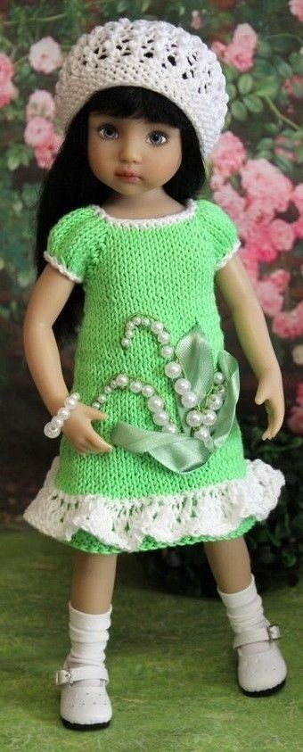 Green knitted dress for Little Darling Effner