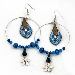 Blue Petal Hoop Earrings #denim #flower #bead #swarovski #crystal #lasercut