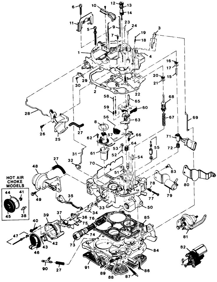 Fig. 11: Exploded view of the Rochester E4ME carburetor