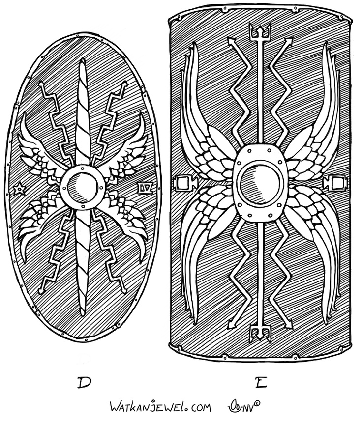 Ancient shields: A: Auxiliaries shield B: large wooden legionnaires shield (scutum), Niels Vergouwen Watkanjewel.com