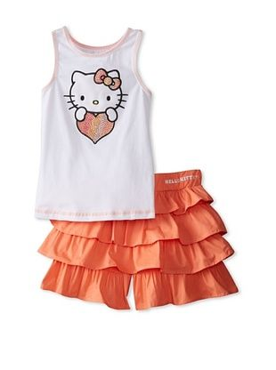 50% OFF Hello Kitty Girl's Tank & Tiered Skort Set (Fusion Coral)