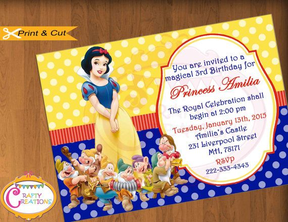 Snow White Invitation  Snow White & the Seven Dwarfs Birthday Party Invite by CraftyCreationsUAE #SnowWhite #Invitation #SevenDwarfs