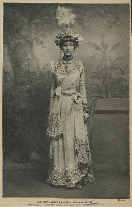 Miss May Goelet, Duchess of Roxburghe. She was an American who married into English aristocracy. Seen here in fancy dress.