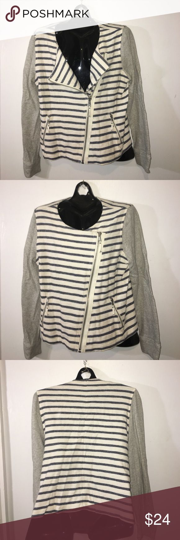 Lou & Grey zip up cardigan L NOT Madewell! For visibility only. Stylish Lou & Grey diagonal zip up cardigan. 2 zipper pockets. Striped body w/ grey sleeves. Soft sweatshirty material. EUC L Madewell Sweaters Cardigans