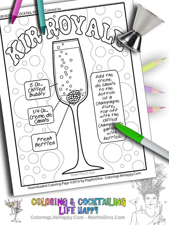 Instant Download Kir Royale Champagne Cocktail AdultColoring Page WITH Recipe By ColoringLifeHappy