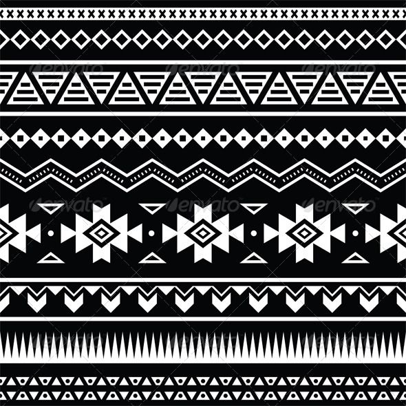 Aztec Seamless Pattern, Tribal Black and White  #GraphicRiver         Vector seamless aztec ornament, etnic pattern