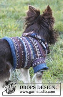 """Knitted DROPS dog's sweater with hood in """"Fabel"""". ~ DROPS Design"""