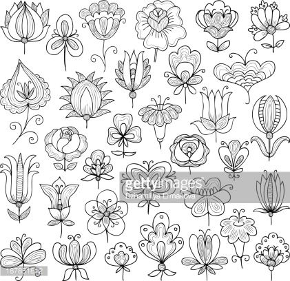 Zentangles and Art: Vector image of the set of various flowers doodle