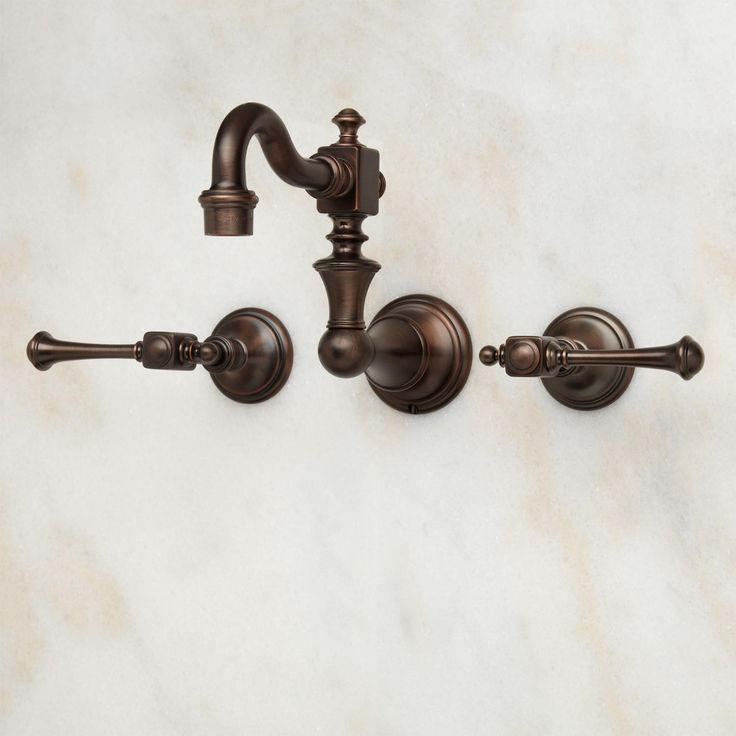 Vintage Wall-Mount Bathroom Faucet - Lever Handles - Wall Mount Faucets - Bathroom Sink Faucets - Bathroom