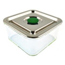 An elegant square glass container with a stainless steel lid and silicone sealing system for an airtight watertight seal.