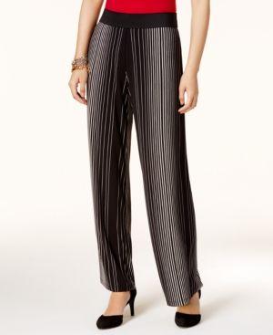 Alfani Petite Striped Palazzo Pants, Created for Macy's - Black P/XL