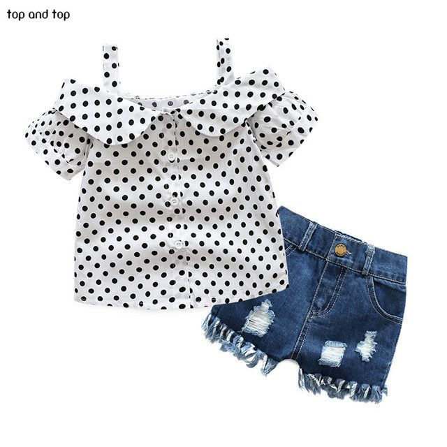 Polka Dot Top + Stressed Denim Shorts -2 Piece Set
