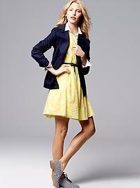 Gap: Blazer, layering collared shirt under collarless shirt dress. Striped oxfords.