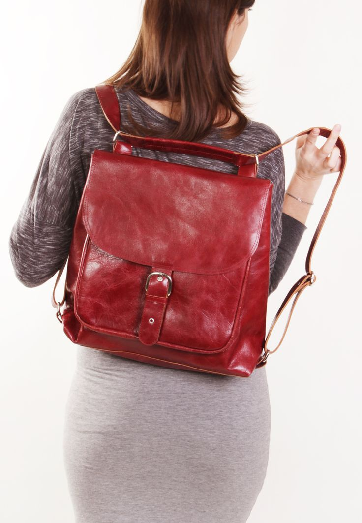 Benjamin Bordo - Bordo backpack transformer / Bordo leather backpack / Bordo leather bag /Bordo leather purse / Leather backpack by A-Rada