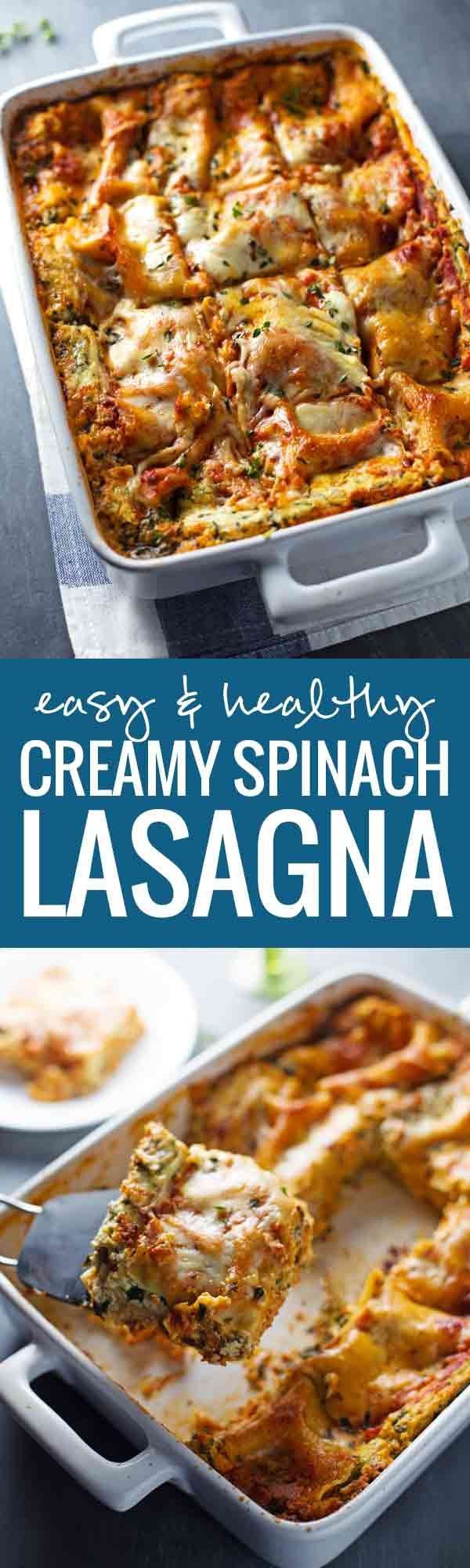 Skinny Spinach Lasagna - thick layers of sauce, noodles, ricotta, spinach, and Mozzarella - 250 calories. | pinchofyum.com