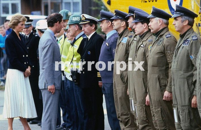 Piper Alpha Oil Rig Accident, July 1988 Prince Charles and Princess Diana meet the rescue team at Aberdeen.