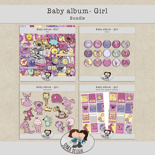 SoMa Design: Baby album - Girl - Bundle