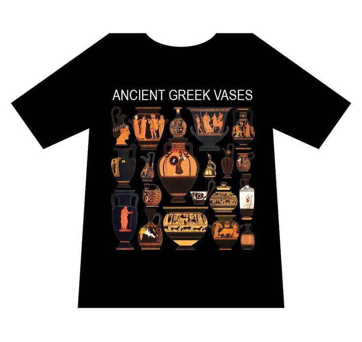 Greek culture T-shirt, Ancient Greek vases, T-logos, Ancient Greece, T-shirts, black, mediterraneo editions, www.mediterraneo.gr