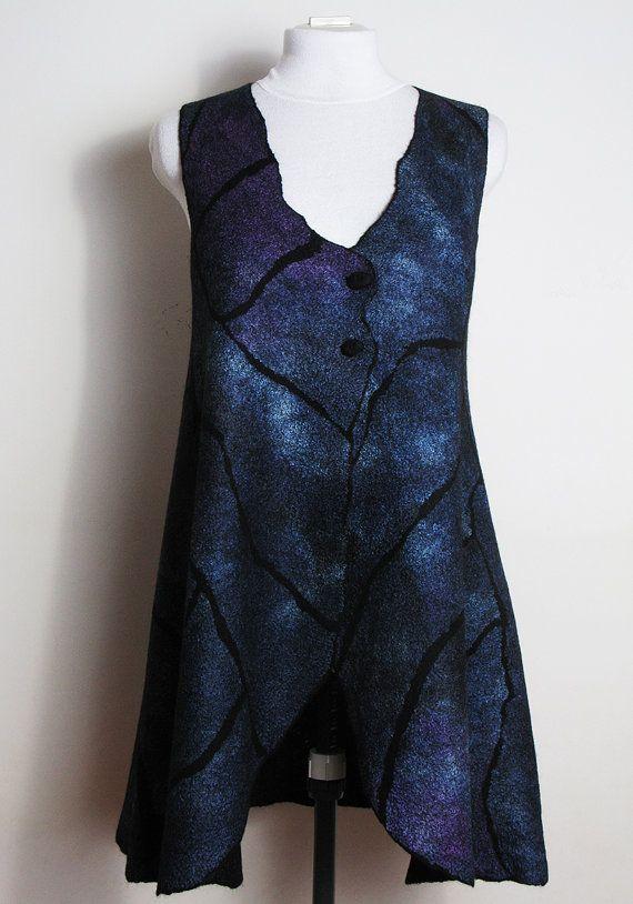 Black Wool Silk Nuno Felted Vest for Women, Dark Blue Purple Nuno Felted Jacket for Girl, Felt Fashion Clothing, Felted Waistcoat