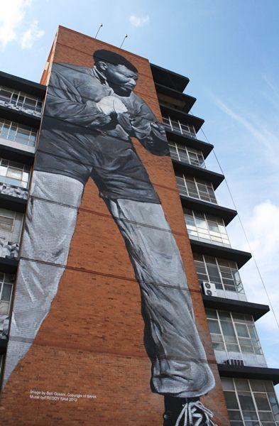 Nelson Mandela mural, New Doornfontein, Jozi