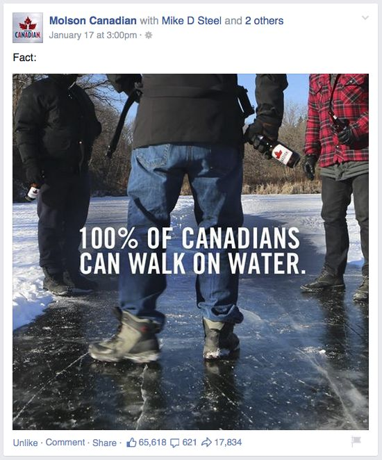 """We gathered 5 lessons from Molson Canadian's """"100% of Canadians Can Walk on Water"""" Facebook post. We're sharing them with you so you can be just as awesome as they are in your social media efforts. You're welcome. But thank us by chiming in with your comments!"""