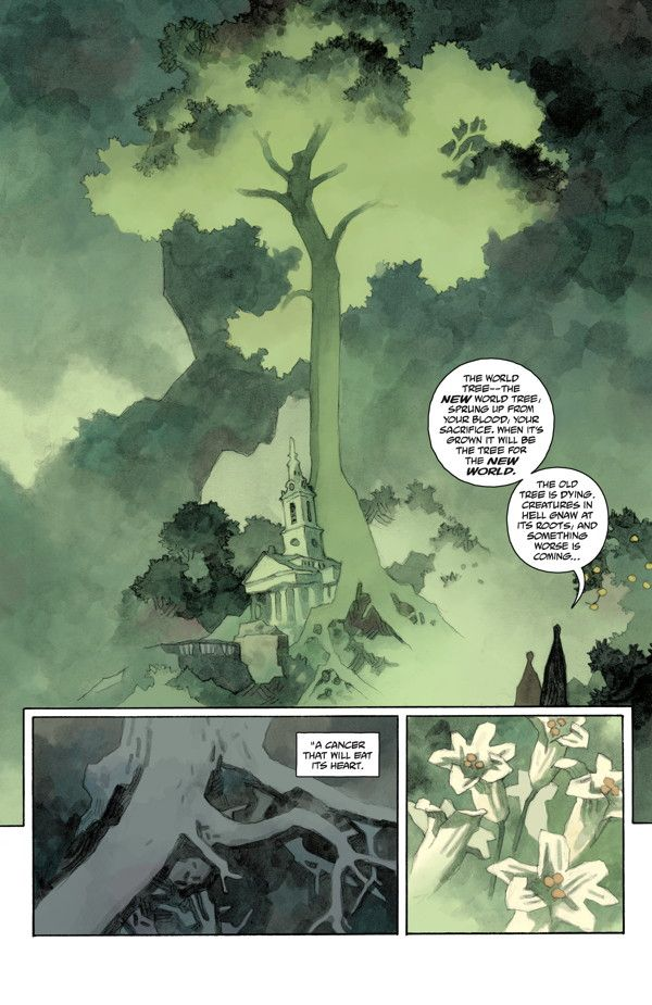 """Preview: Hellboy in Hell #7,   Hellboy in Hell #7  Story: Mike Mignola Art…- This one is all about the use of color. The sickly, fluorescent green shade of everything combined with a lack of a detailed background just screams """"mythical, unknown and otherworldly"""""""