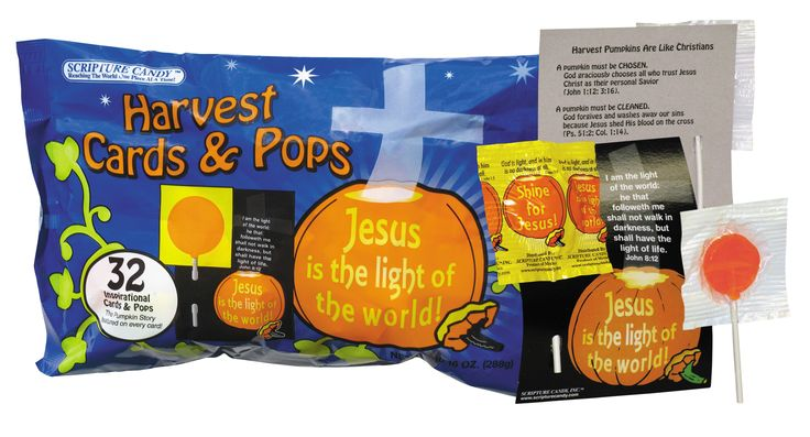 """Each bag is filled with 32 inspirational cards and 32 Orange-flavored pops. Each card has a special """"Jesus is the light of the world"""" message on the front and a cute explanation of how Harvest Pumpkins are like Christians on the back. Each lollipop is individually wrapped in an inspirational scripture. Great for church harvest parties and for passing out at your home to trick-or-treaters."""