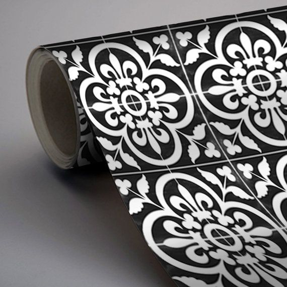 Vinyl Floor Tile Sticker – Floor decals – Carreaux Ciment Encaustic Corona Tile Sticker Pack in Black