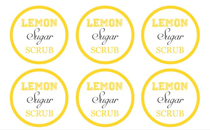FREE printable labels and easy holiday gift idea for Lemon Sugar Scrub Recipe