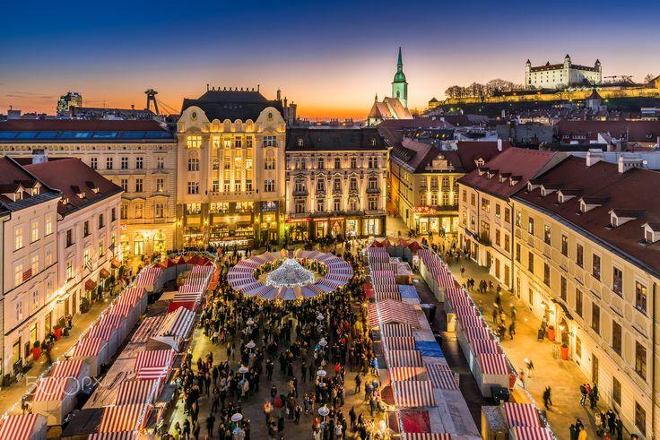 Christmas market in Bratislava - View to traditional Christmas market on the Main square in Bratislava.