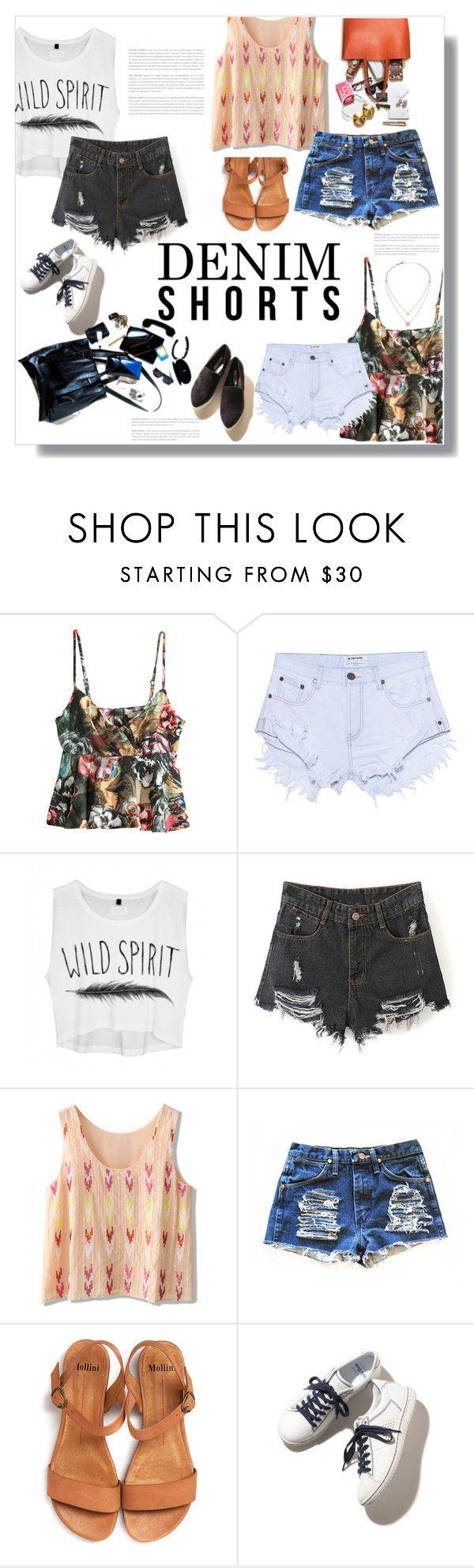 """Denim Shorts.."" by nadia-gadelmawla ❤ liked on Polyvore featuring H&M, OneTeaspoon, Chicwish, Michael Kors, jeanshorts, denimshorts and cutoffs"