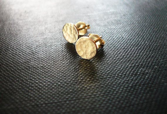 Tiny Hammered Gold Dot Earrings  Dainty 14K Gold by roundabout