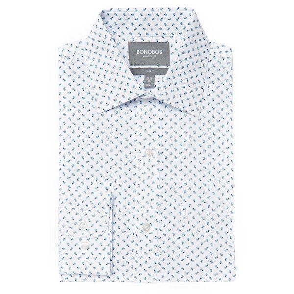 Bonobos Slim Fit Wrinkle Free Flower Print Dress Shirt ($98) ❤ liked on Polyvore featuring men's fashion, men's clothing, men's shirts, men's dress shirts, blue, mens slim fit dress shirts, mens slim fit shirts, mens floral dress shirt, mens floral shirts and mens floral print shirts