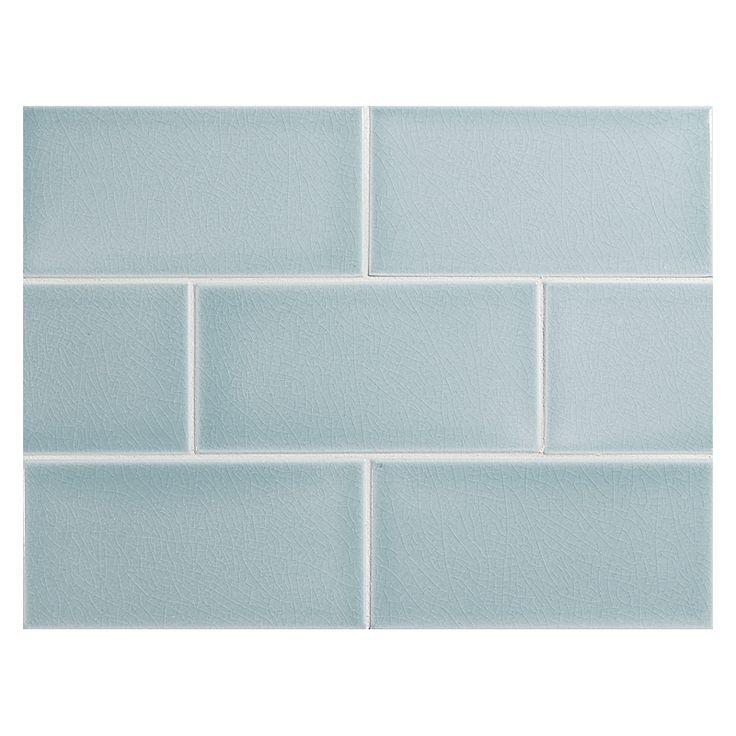 "Complete Tile Collection Vermeere Ceramic Tile - Ice Blue - Crackle, 3"" x 6"" Manhattan Ceramic Tile, MI#: 199-C1-312-761, Color: Ice Blue"