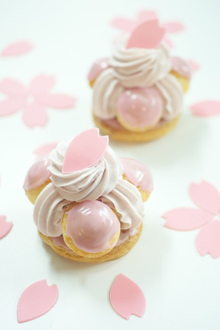 Traditional St. Honore French pastry with sakura (cherry) flavor.[From Patisserie Plaisir]