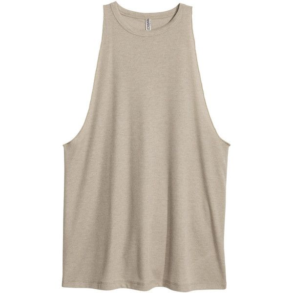 Ribbed Tank Top $12.99 ($13) ❤ liked on Polyvore featuring tops, shirts, brown shirt, brown tank, jersey top, rib tank and ribbed tank top