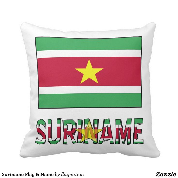 Surinamese Flag Suriname Pillow  Cool pillow to share your heritage or travel memories.  Features the Surinamese flag in green, white and red stripes. In the center is a yellow star.  Below it is the word SURINAME, in the same colors with a faded yellow star in the center.  The designer, @auntieshoe, used a faded star in the word in order to insure the word is readable.