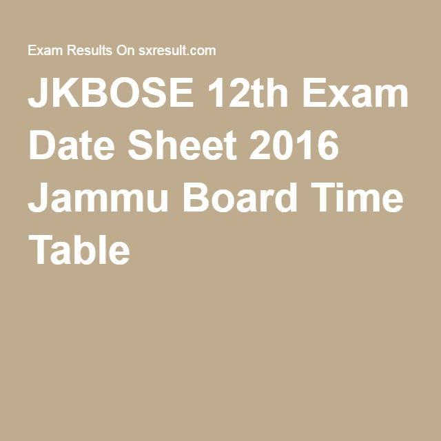 JKBOSE 12th Exam Date Sheet 2016 Jammu Board Time Table