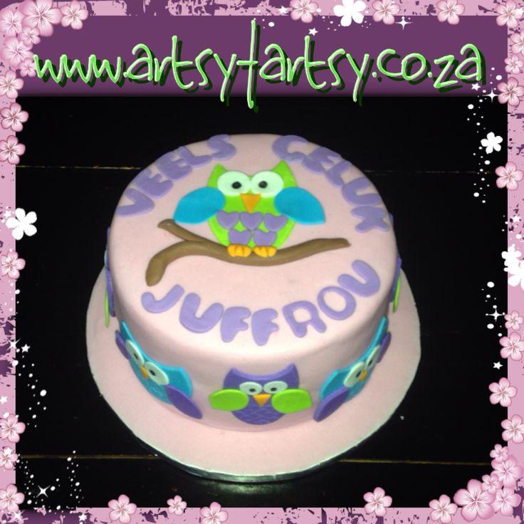 Owl Themed Cake for a Teacher's Birthday #owlcake #teacherscake