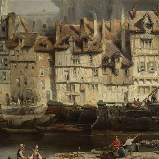 De Parijse kade in Rouen, Johannes Bosboom, 1839 - Search - Rijksmuseum