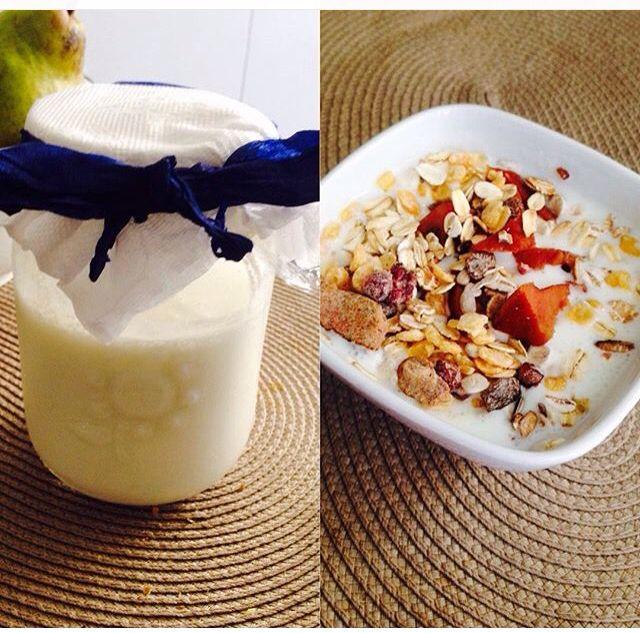 yogurt de kefir, avena y fruta deshidratada, sano y rico, gusto adquirido