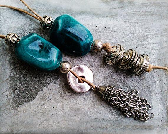 Boho jewelry, long BOHO pendant necklace, leather necklaces for women, leather cord tassel necklace, boho unique Christmas gifts for women
