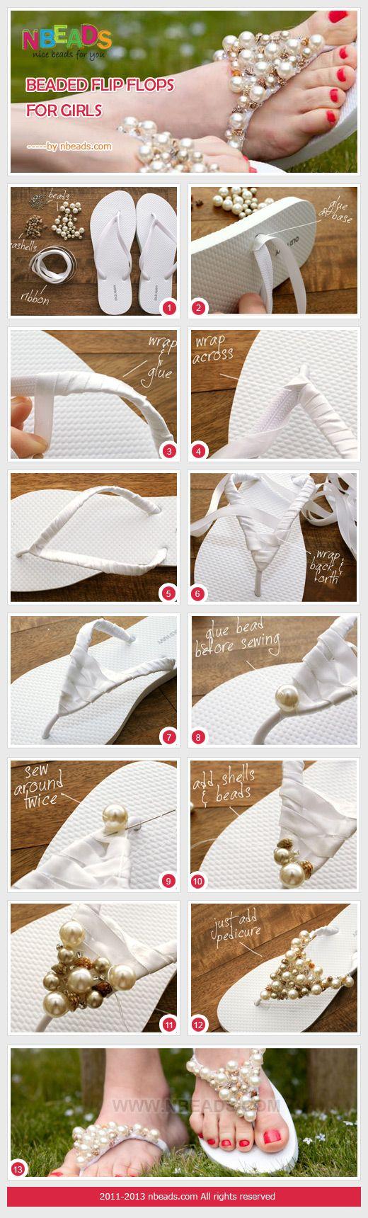 beaded flip flops for girls