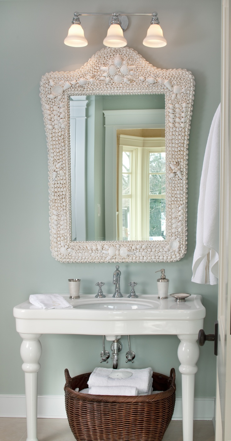 Coastal Inspired Bath, Pottery Barn Shell Mirror Via Kristin Peake  Interiors, LLC.