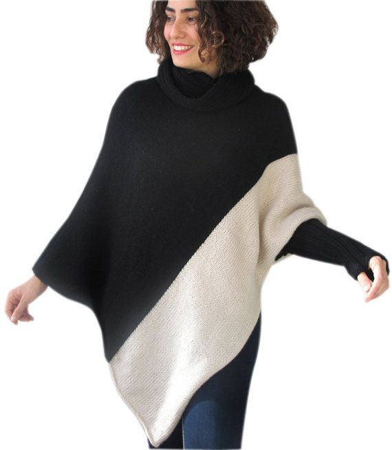 Stylish Two ColorS Hand Knitted Poncho with Accordion Neck Plus Size Over Size Tunic by Afra