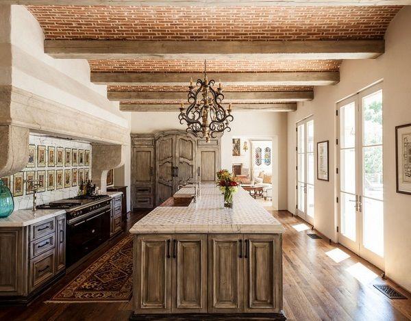 Mediterranean kitchen wood kitchen island shelves closet