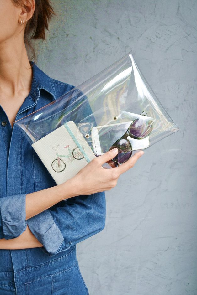 Clutches – Clear clutch bag / Transparent bag – a unique product by Vasiliki-Anastasia on DaWanda