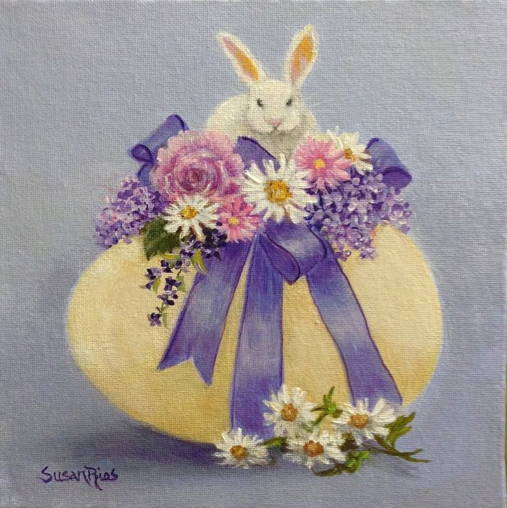 Honey Bunny Easter Egg Painting Large от SusanRiosDesigns на Etsy